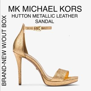 MICHAEL KORS HUTTON LEATHER METALLIC GOLD SANDAL 5
